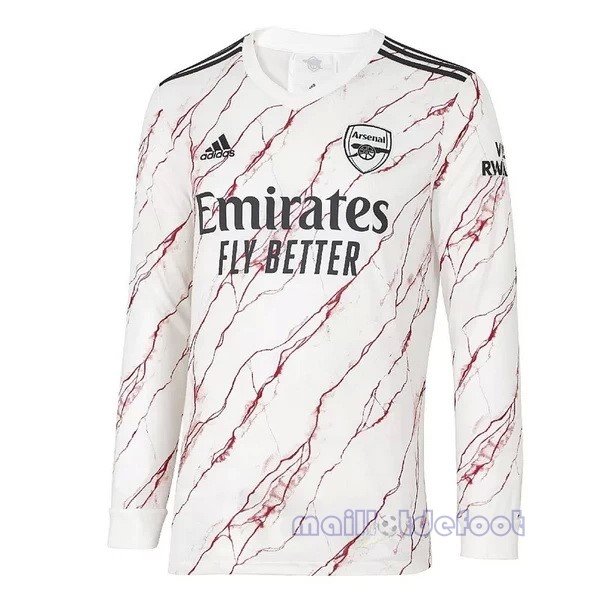 Exterieur Manches Longues Arsenal 2020 2021 Blanc Maillot Foot Promo