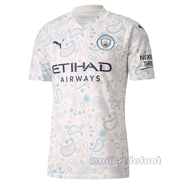Thailande Exterieur Maillot Manchester City 2020 2021 Blanc Maillot Foot Promo