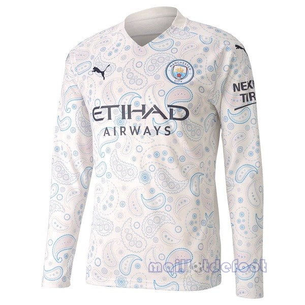 Third Manches Longues Manchester City 2020 2021 Blanc Maillot Foot Promo